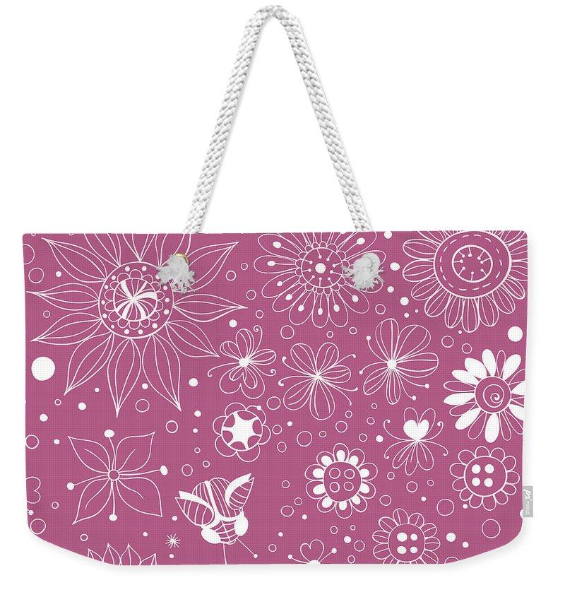 Art Weekender Tote Bag featuring the digital art Floral Doodles by Katerina Kirilova