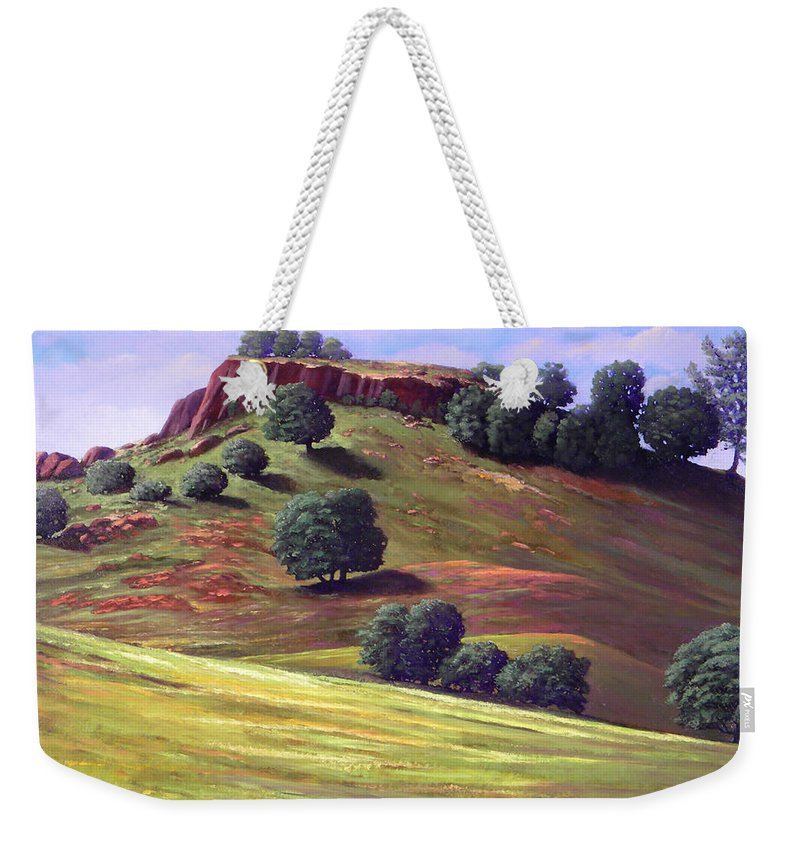 Landscape Weekender Tote Bag featuring the painting Flowering Meadow by Frank Wilson