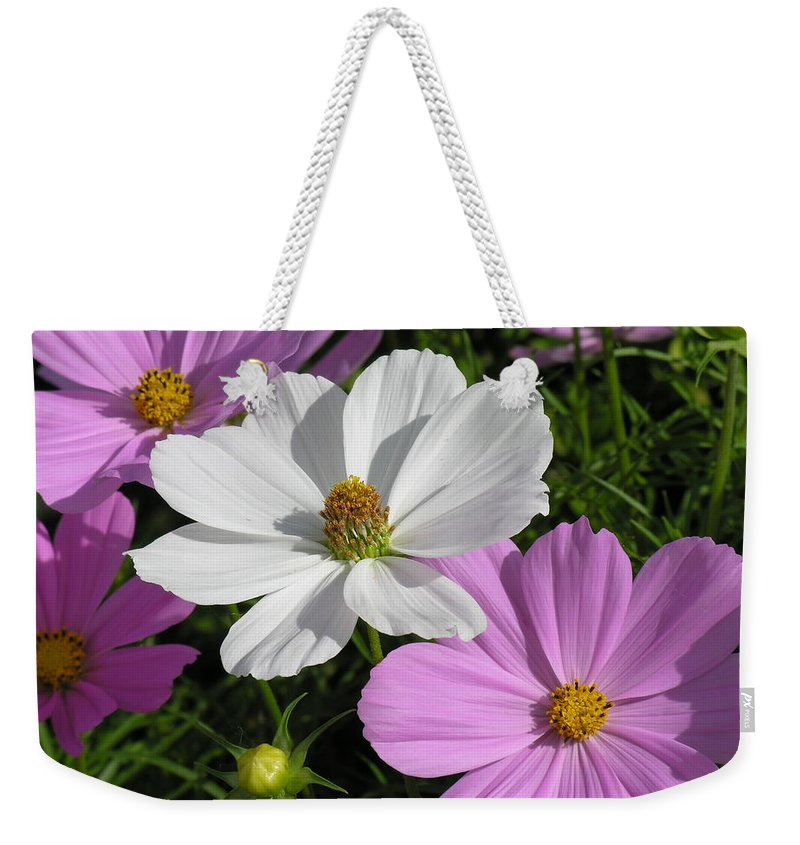 White Weekender Tote Bag featuring the photograph Flowers by Diane Greco-Lesser