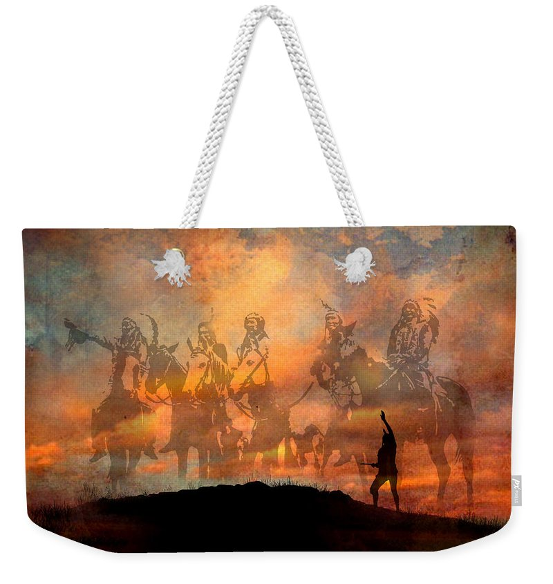 Native Americans Weekender Tote Bag featuring the painting Forefathers by Paul Sachtleben