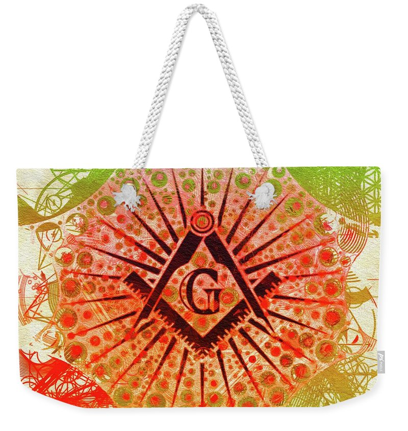 Lodge Weekender Tote Bag featuring the painting Freemason, Mason, Masonic Symbolism by Esoterica Art Agency