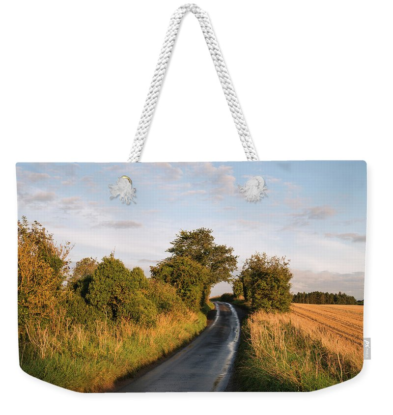 Landscape Weekender Tote Bag featuring the photograph Freshly Harvested Fields Of Barley In Countryside Landscape Bath by Matthew Gibson