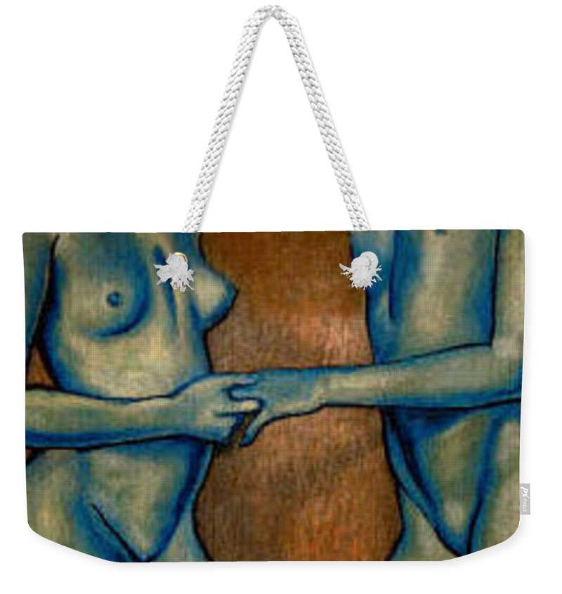 Nudes Weekender Tote Bag featuring the painting Friends by Thomas Valentine