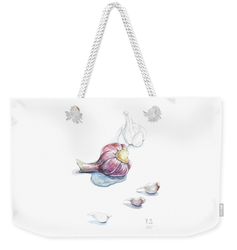 Garlic Weekender Tote Bag featuring the painting Garlic by Yana Sadykova