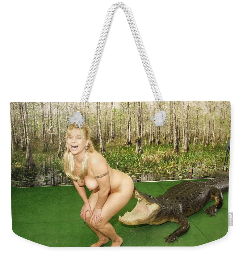 Lucky Cole Everglades Photography Weekender Tote Bag featuring the photograph Gator Bites by Lucky Cole