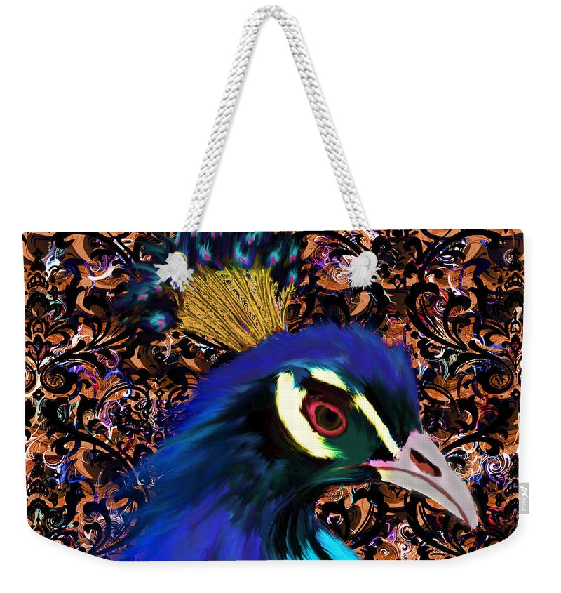 Peacock Weekender Tote Bag featuring the digital art Gift Of Indra by Iowan Stone-Flowers