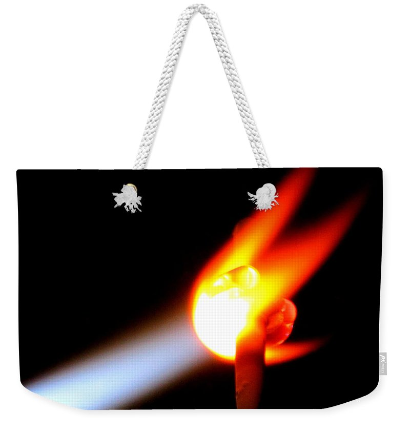 Fire Weekender Tote Bag featuring the photograph Glass Bead Making by Sarah Houser