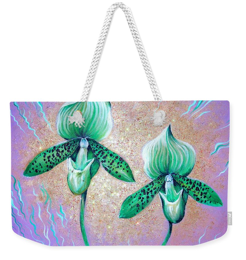 Orchid Weekender Tote Bag featuring the painting 2 Green Orchids. Sunrise by Sofia Metal Queen