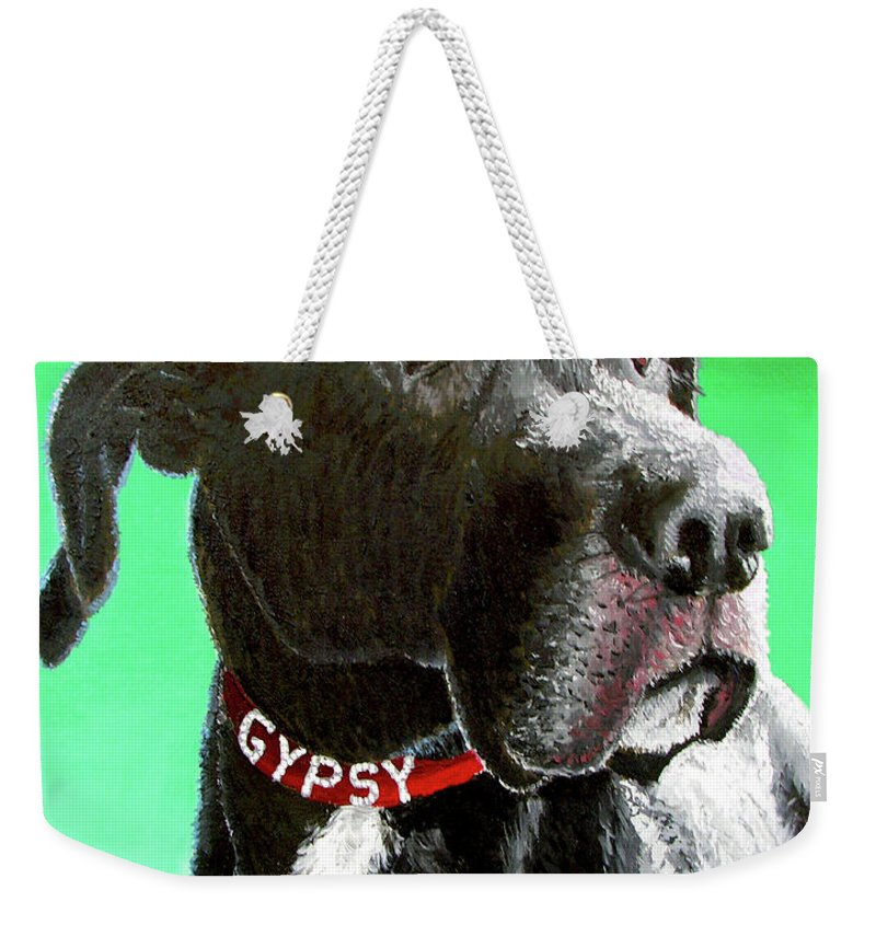 Dog Portrait Weekender Tote Bag featuring the painting Gypsy by Stan Hamilton