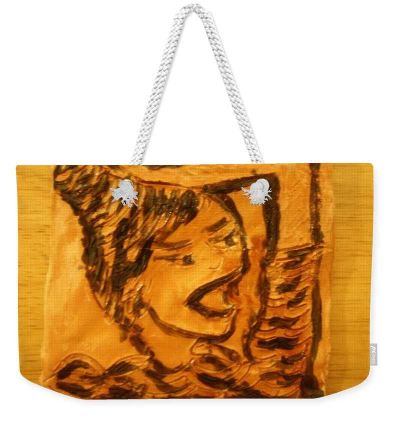 Jesus Weekender Tote Bag featuring the ceramic art Hair Day - Tile by Gloria Ssali