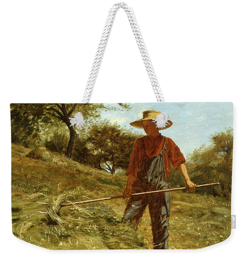 Winslow Homer Weekender Tote Bag featuring the painting Haymaking by Winslow Homer