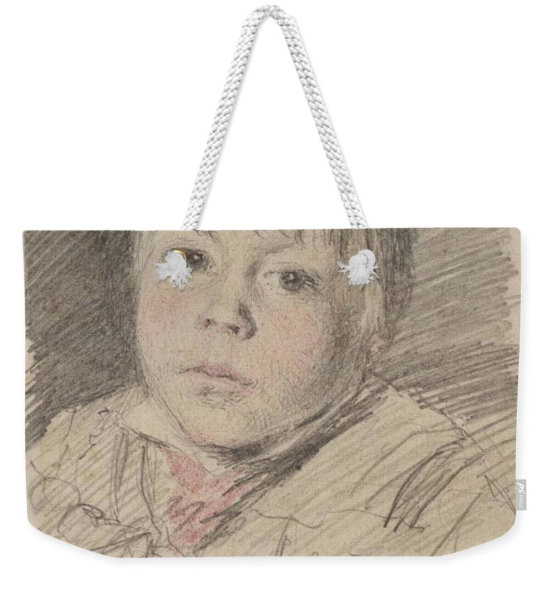 William Henry Hunt 1790�1864 Title Head Of A Boy Weekender Tote Bag featuring the painting Head Of A Boy by William Henry