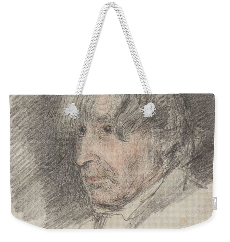 William Henry Hunt 1790�1864 Title Head Of An Old Man Weekender Tote Bag featuring the painting Head Of An Old Man by William Henry