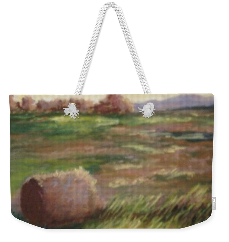 Weekender Tote Bag featuring the pastel Hey There by Pat Snook