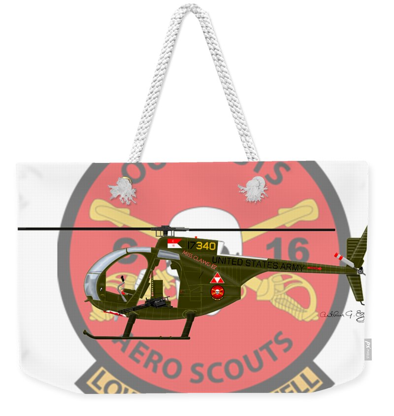 Hughes Weekender Tote Bag featuring the digital art Hughes Oh-6a Cayuse Miss Clawd Iv by Arthur Eggers