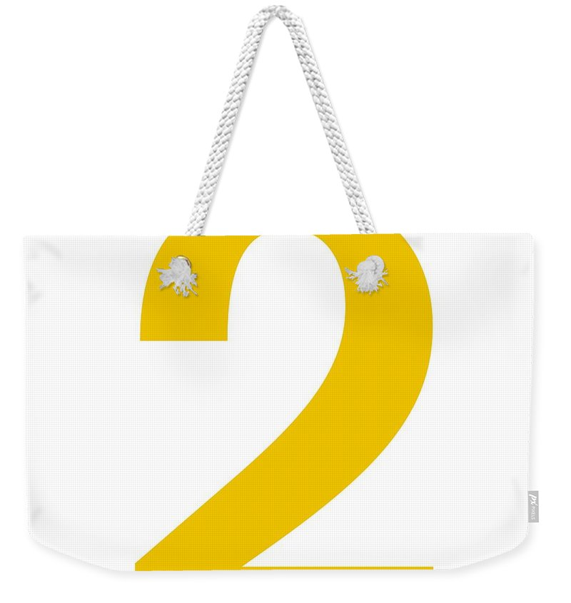 2 Weekender Tote Bag featuring the digital art 2 In Mustard Typewriter Style by Custom Home Fashions