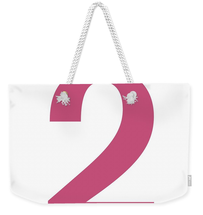 2 Weekender Tote Bag featuring the digital art 2 In Pink Typewriter Style by Custom Home Fashions