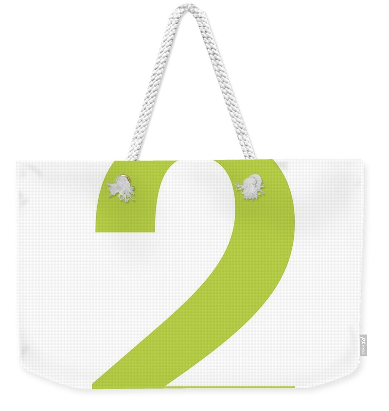 2 Weekender Tote Bag featuring the digital art 2 In Spring Green Typewriter Style by Custom Home Fashions