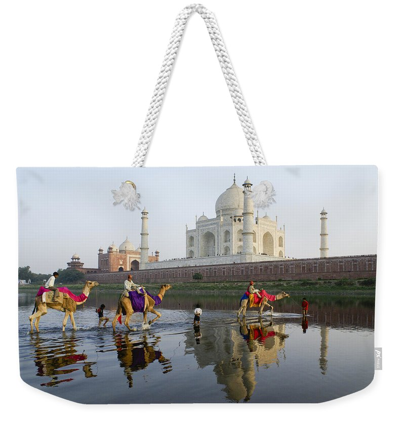 Taj Mahal Weekender Tote Bag featuring the photograph India's Taj Mahal by Michele Burgess