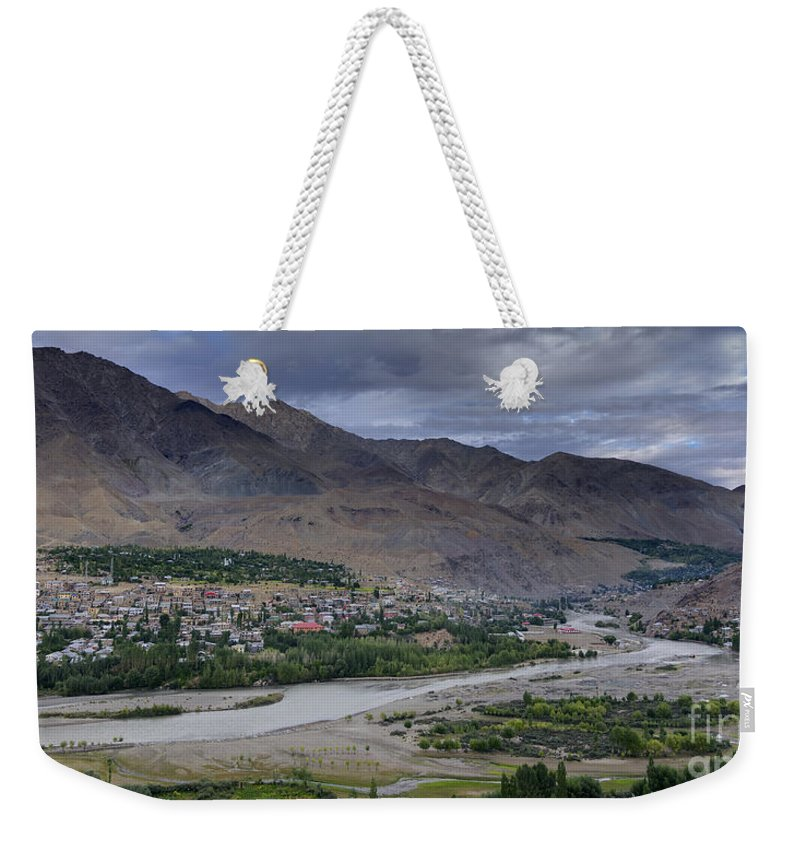 Top Weekender Tote Bag featuring the photograph Indus River And Kargil City Leh Ladakh Jammu Kashmir India by Rudra Narayan Mitra