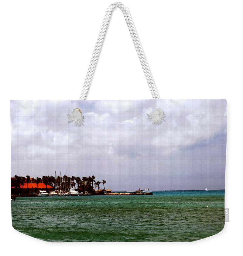 Harbor Weekender Tote Bag featuring the photograph Island Harbor by Gary Wonning