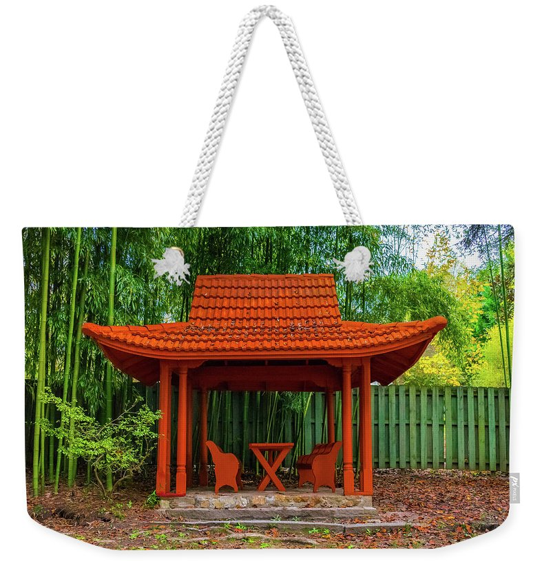 Japanese Weekender Tote Bag featuring the photograph Japanese Garden by Jeff Chapman