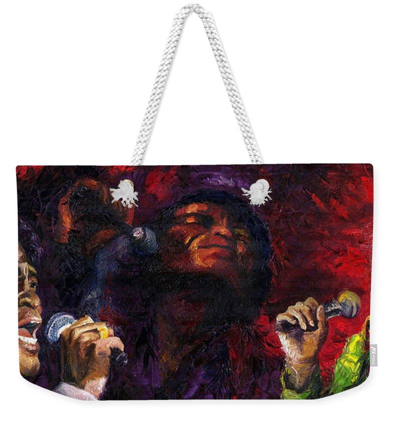 Jazz Weekender Tote Bag featuring the painting Jazz James Brown 3 by Yuriy Shevchuk