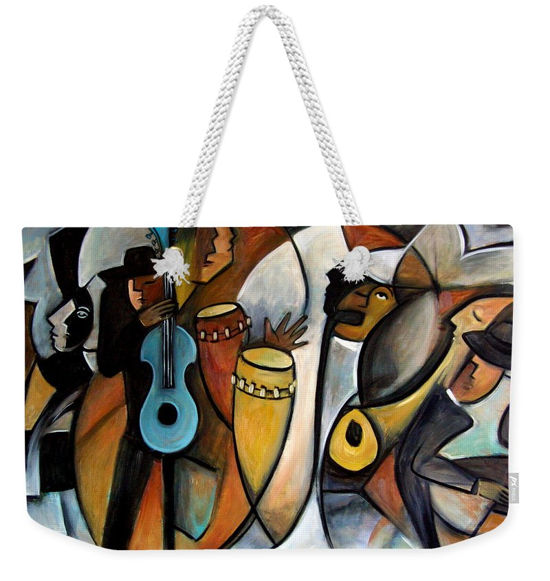 Latin Jazz Musicians Weekender Tote Bag featuring the painting Jazzz by Valerie Vescovi