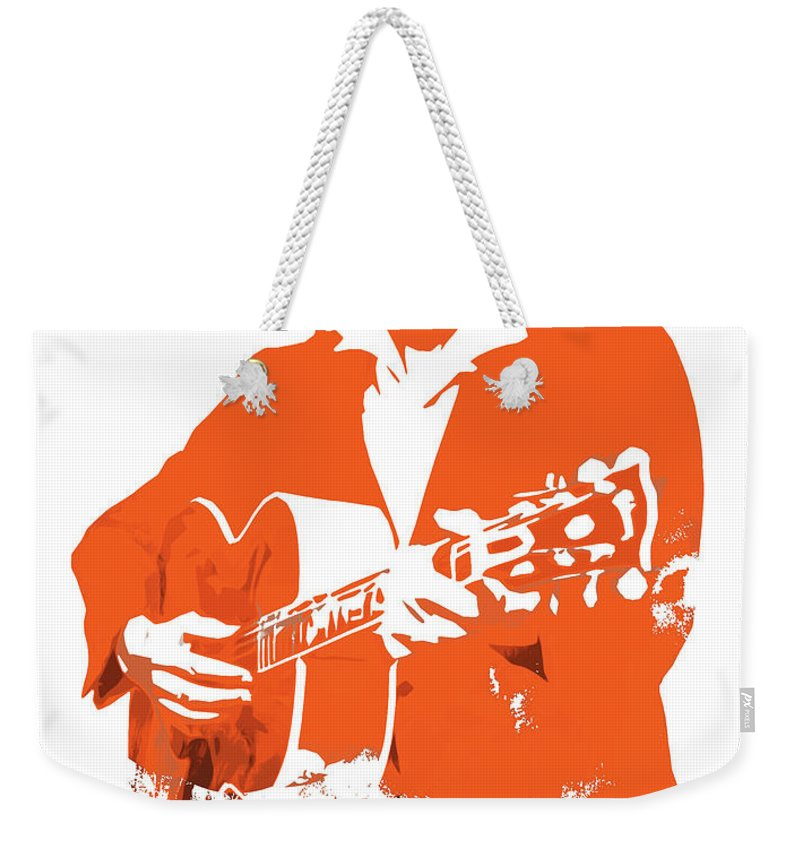 Johnny Cash Weekender Tote Bag featuring the painting Johnny Cash The Legend by Andrea Mazzocchetti