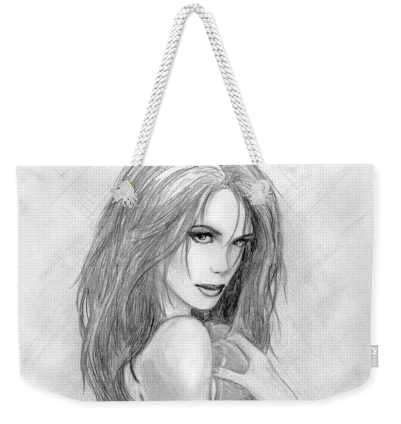 Kate Beckinsale Weekender Tote Bag featuring the drawing 2 by Kristopher VonKaufman