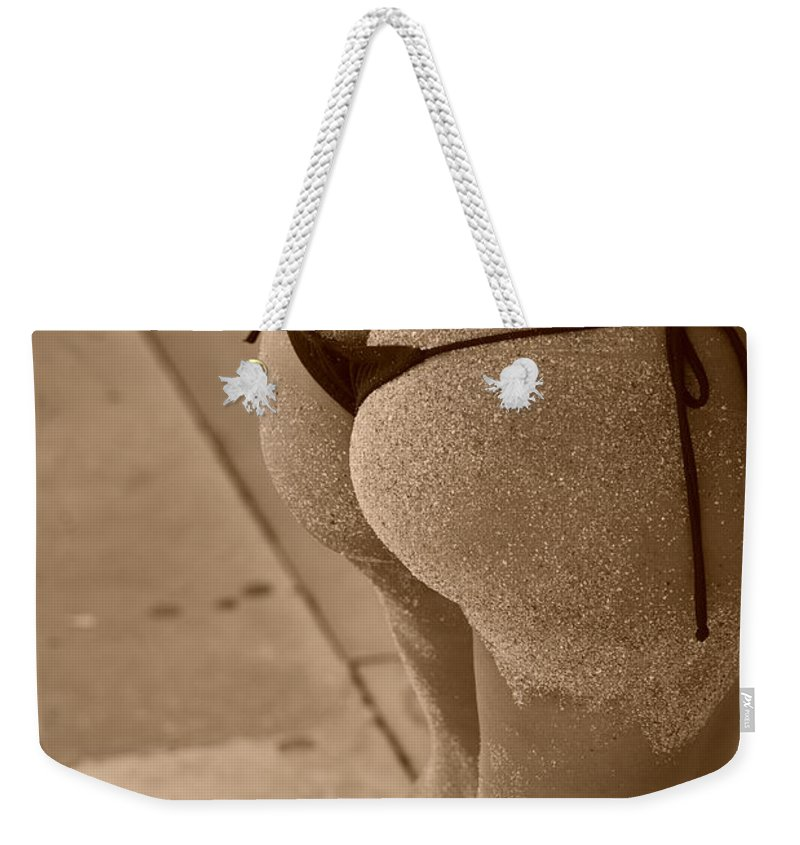 Sepia Weekender Tote Bag featuring the photograph L W Thong by Rob Hans