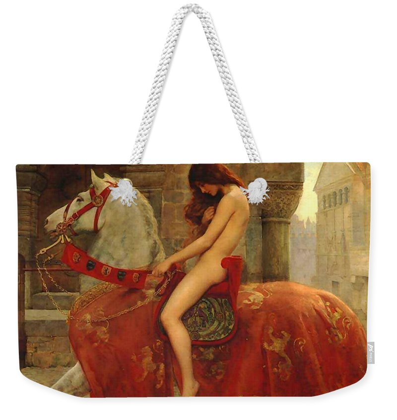 Lady Weekender Tote Bag featuring the painting Lady Godiva by John Collier