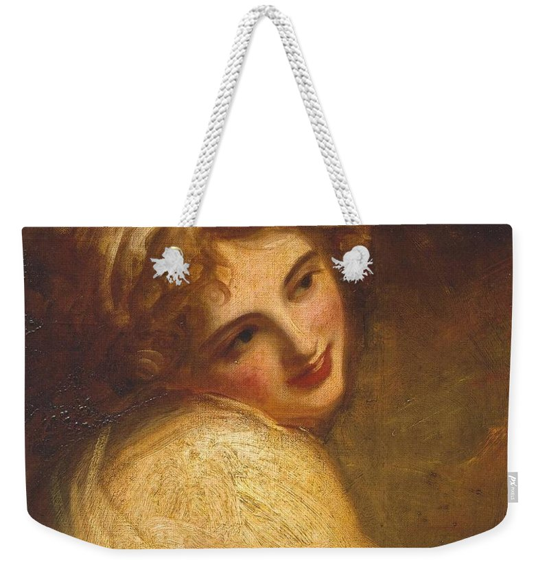 George Romney 1734�1802  Lady Hamilton (as A Figure In �fortune Telling�) Weekender Tote Bag featuring the painting Lady Hamilton by George Romney