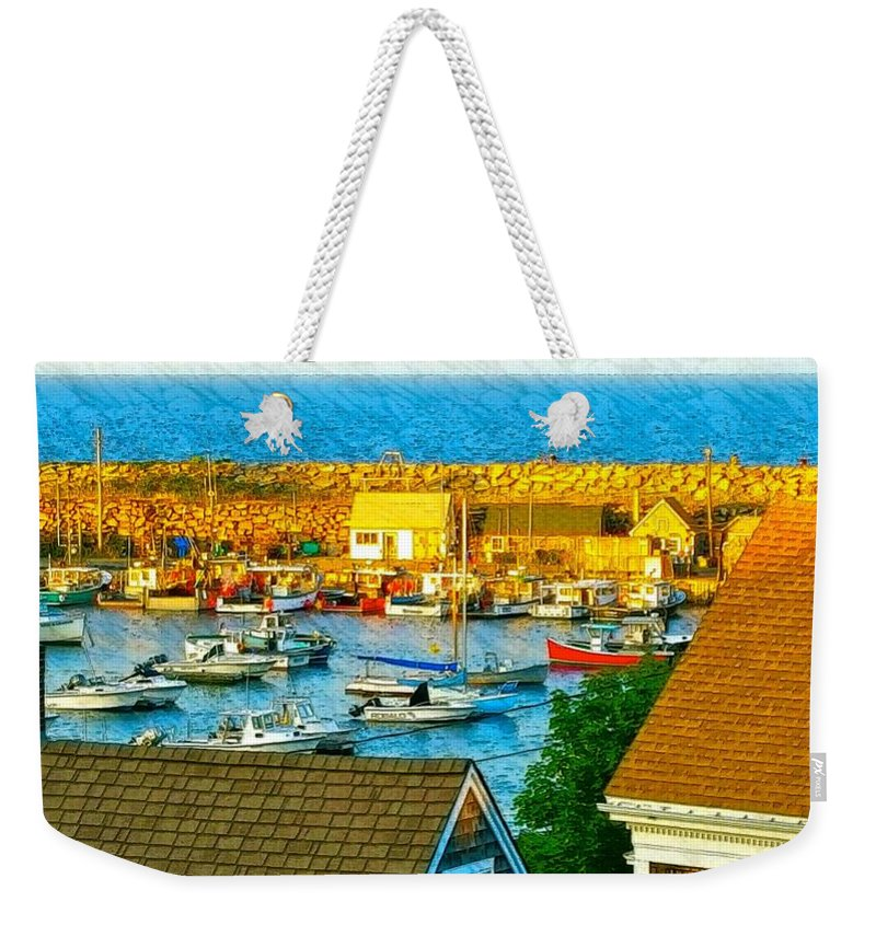 Harbor With Many Small Boats Weekender Tote Bag featuring the photograph Last Light Of The Day by Harriet Harding