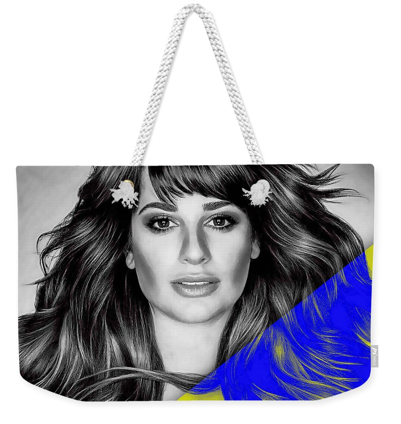 Lea Michele Weekender Tote Bag featuring the mixed media Lea Michele Collection by Marvin Blaine