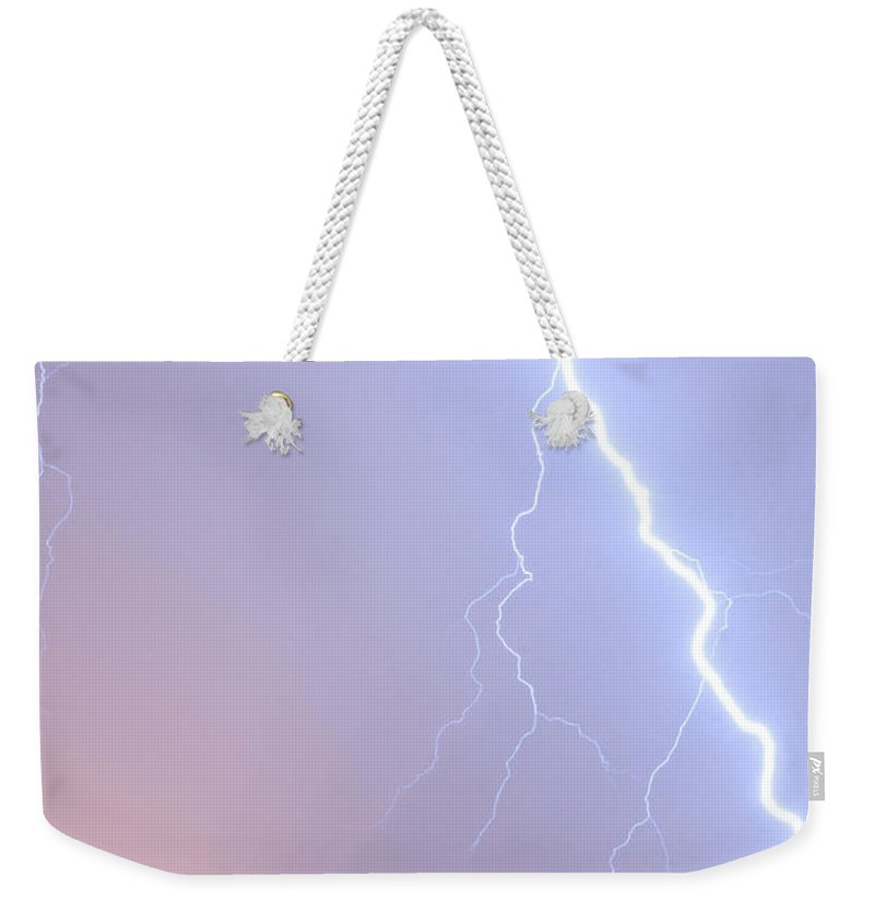 Weather Weekender Tote Bag featuring the photograph Lightning Strike by Ian Middleton