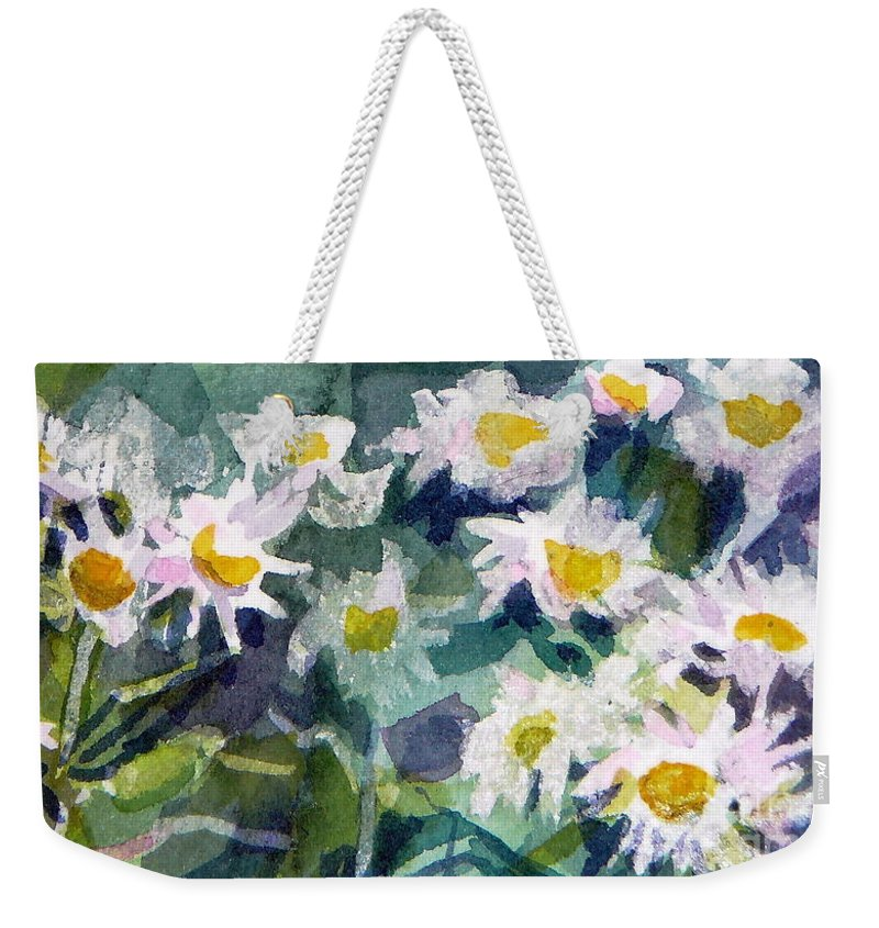 Flowers Weekender Tote Bag featuring the painting Little Asters by Jan Bennicoff