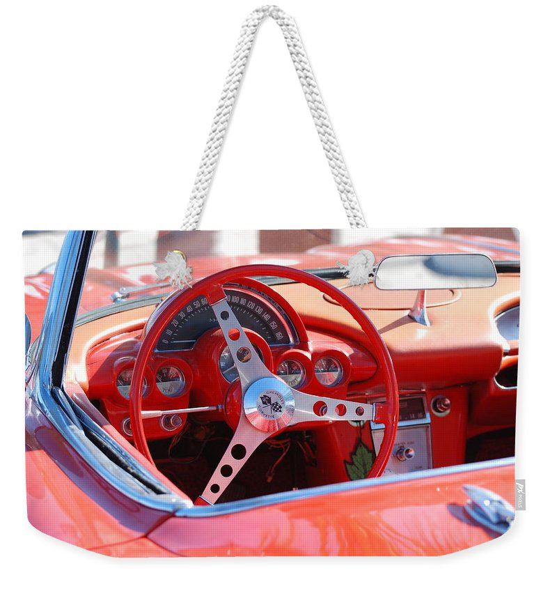 Corvette Weekender Tote Bag featuring the photograph Little Red Corvette by Rob Hans