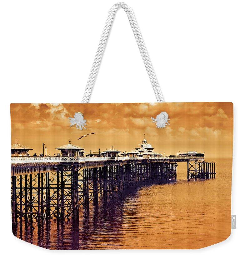 Llandudno Weekender Tote Bag featuring the photograph Llandudno Pier North Wales Uk by Mal Bray