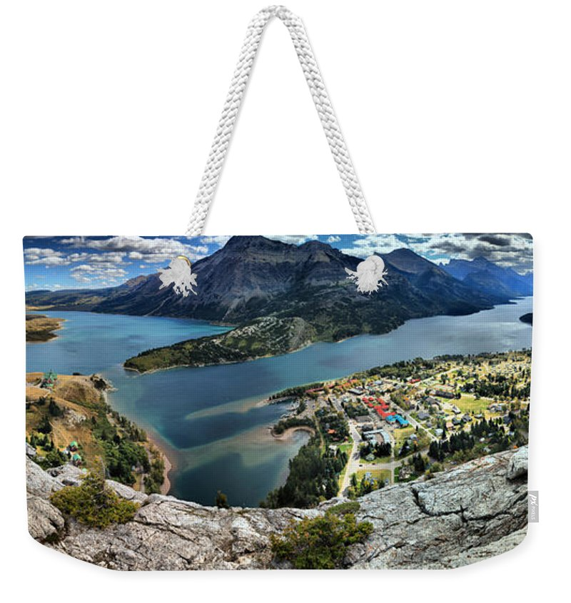 Bears Hump Weekender Tote Bag featuring the photograph Looking Down On Waterton Lakes by Adam Jewell