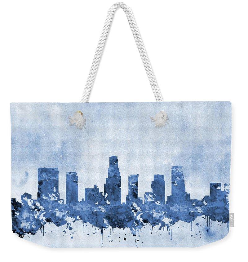 Los Angeles Weekender Tote Bag featuring the digital art Los Angeles Skyline-blue by Erzebet S