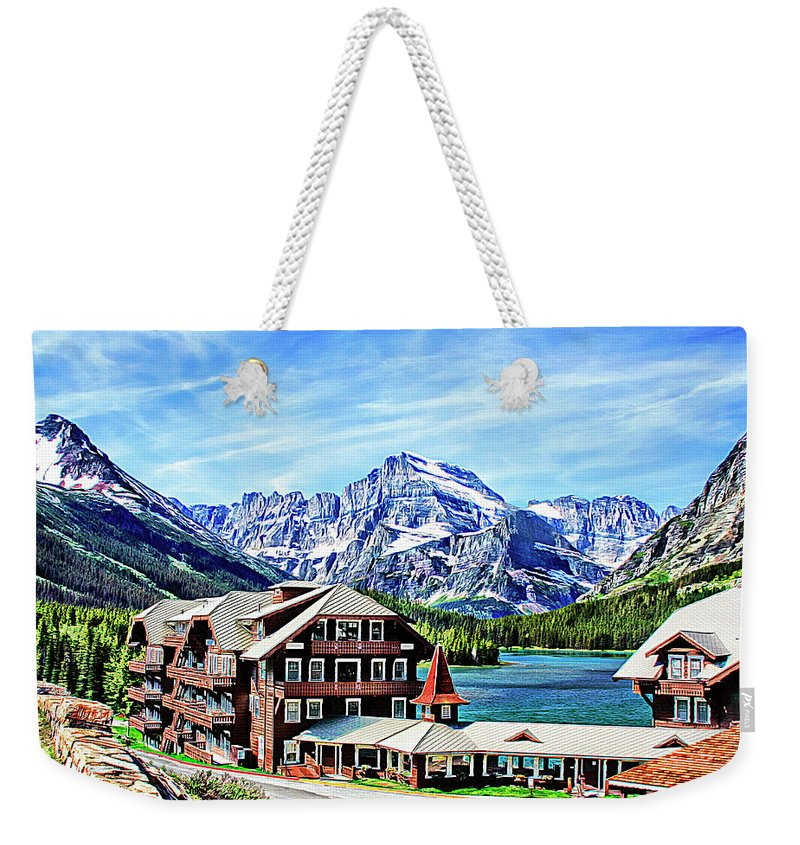 Opened In July 1915 Weekender Tote Bag featuring the photograph Many Glacier Hotel by Margie Wildblood