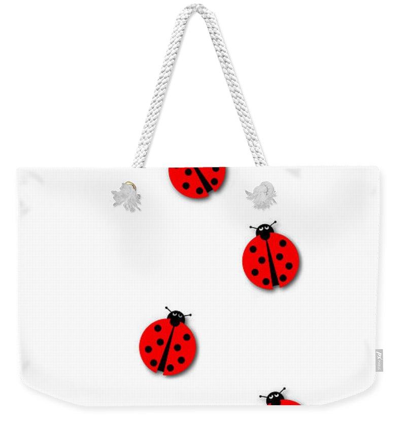Many Weekender Tote Bag featuring the digital art Many Ladybugs by Henrik Lehnerer
