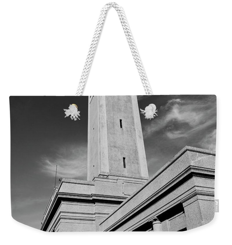 Lsu Weekender Tote Bag featuring the photograph Memorial Tower - Lsu Bw by Scott Pellegrin