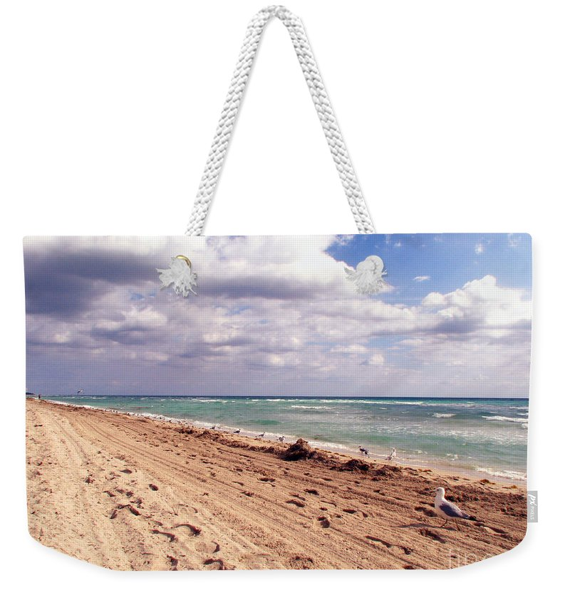 Beaches Weekender Tote Bag featuring the photograph Miami Beach by Amanda Barcon