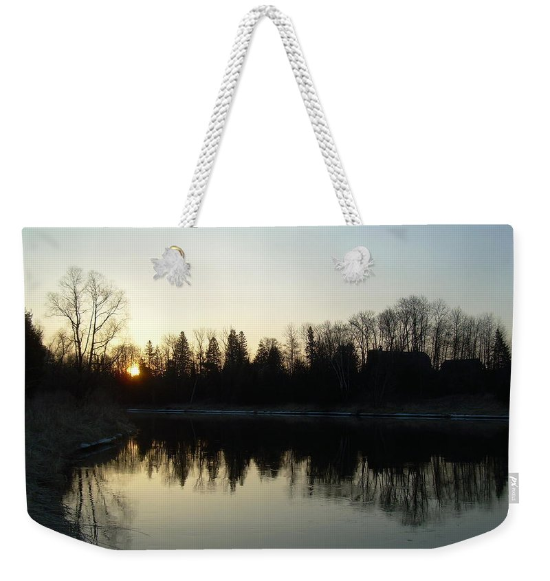 Mississippi River Weekender Tote Bag featuring the photograph Mississippi River Sunrise Reflection by Kent Lorentzen