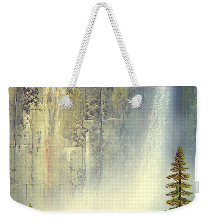 Landscape Weekender Tote Bag featuring the painting Misty Falls by Frank Wilson