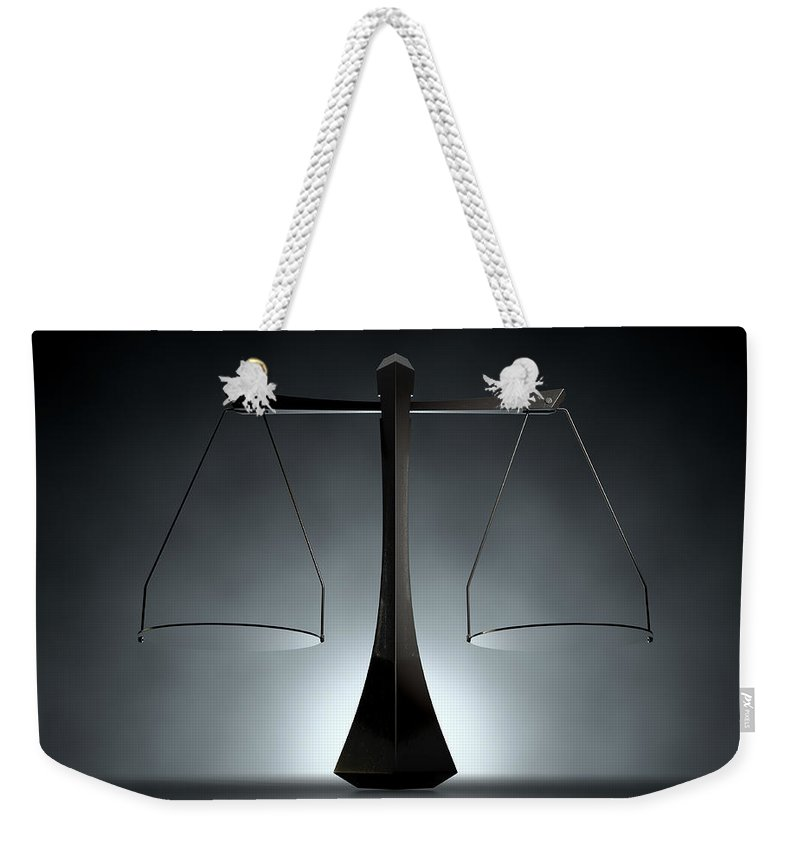 Balanced Weekender Tote Bag featuring the digital art Modern Scales Of Justice by Allan Swart