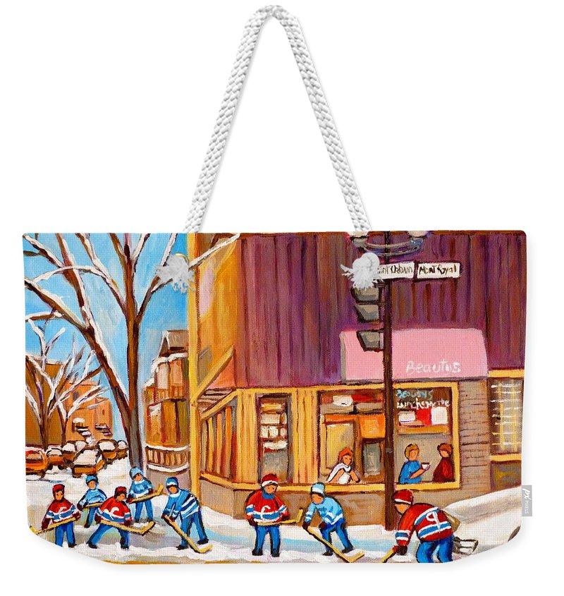 Montreal Paintings Weekender Tote Bag featuring the painting Montreal Paintings by Carole Spandau