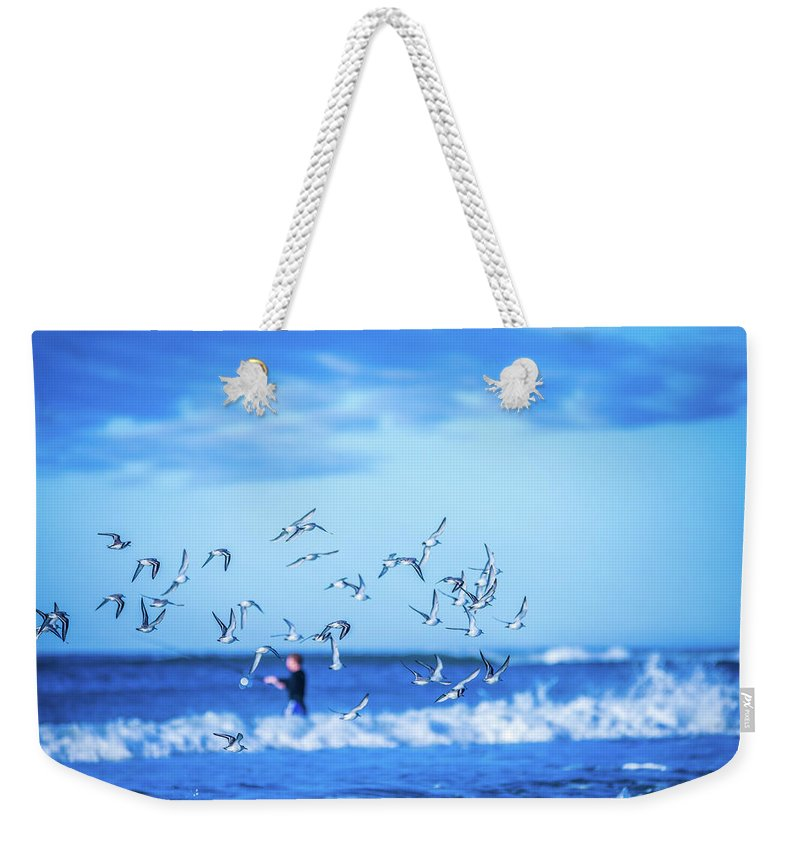Ocean Weekender Tote Bag featuring the photograph Morning Sunrise Over Ocean Waters by Alex Grichenko